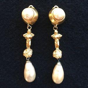 Donna Karan pearl drop earrings